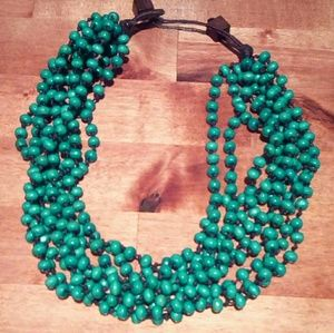 Turquoise Wood Bead Necklace Choker
